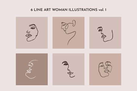 One Line drawing of set Woman's Face. Continuous line Portrait of a girl In a Modern Minimalist Style. Vector Illustration. For printing on t-shirt, Web Design, beauty Salons, Posters and other 向量圖像
