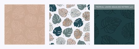 Set of Tropical Monstera Leaves Seamless Pattern. Vector floral background in a trendy minimalistic linear style in pastel colors for printing packaging, fabric, t-shirts, covers, posters. Vol. 3 向量圖像