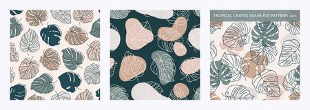Set of Tropical Monstera Leaves Seamless Pattern. Vector floral background in a trendy minimalistic linear style in pastel colors for printing packaging, fabric, t-shirts, covers, posters. Vol. 4