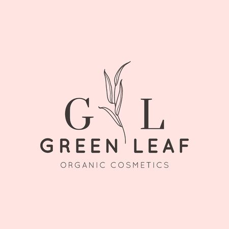 Willow branch with leaves design template in simple minimal linear style. Abstract Feminine Vector Signs with Floral Illustration for Beauty Studio, SPA salon, Organic cosmetics