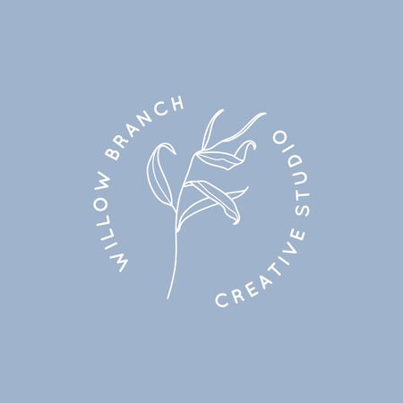 Willow branch with leaves design template in simple minimal linear style. Abstract Feminine Vector Signs with Floral Illustration for Beauty Studio, SPA salon, Organic cosmetics, creative studio