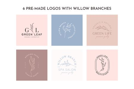 Set of Willow branch with leaves  design template in simple minimal linear style. Abstract Feminine Vector Signs with Floral Illustration for Beauty Studio, SPA, Organic cosmetics, creative studio