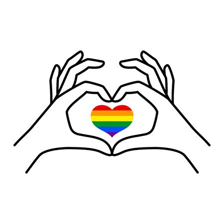 Pride LGBT Rainbow Heart and Female hand of a love symbol in a minimal linear trendy style. Two female hands make a heart Gesture. Vector Illustration for  print on t-shirt, poster, card, tattoo