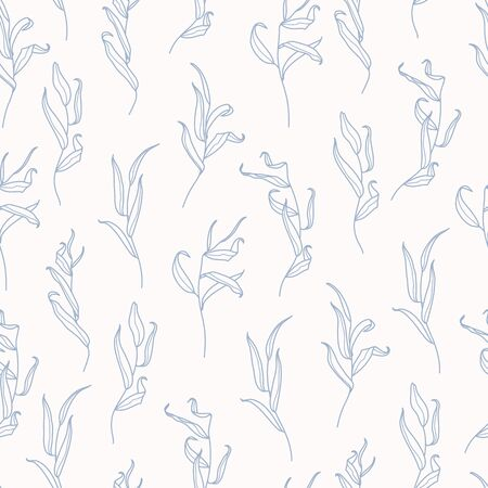 Willow Branch with Leaves Seamless Pattern in a Trendy Minimal Style. Outline of a Botanical Background. Floral Pink Vector Ornament for printing on fabric, invitation, wrapping, wallpaper and other