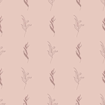 Willow Branch with Leaves Seamless Pattern in a Trendy Minimal Style. Botanical Background.