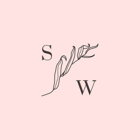 Willow branch with leaves monogram in simple minimal linear style.