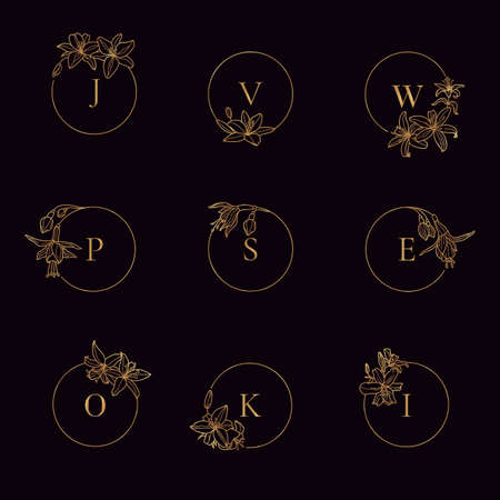 Set of Gold frame template Lily Flower and monogram concept in minimal linear style. 向量圖像