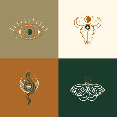 A set of mystical and esoteric  designs  in a trendy minimal linear style. Vector emblems butterfly, cow skull, snake, eye, moon and stars.