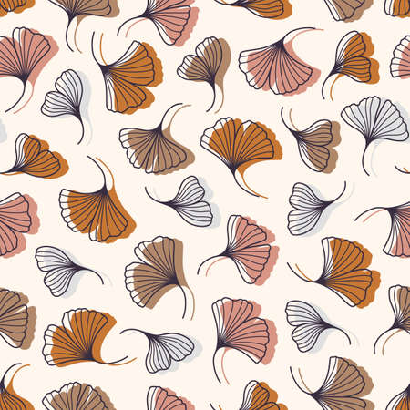 Ginkgo Biloba Leaves Seamless Pattern in a Trendy Minimal Style. Outline of a Botanical Background. Floral Vector Illustration