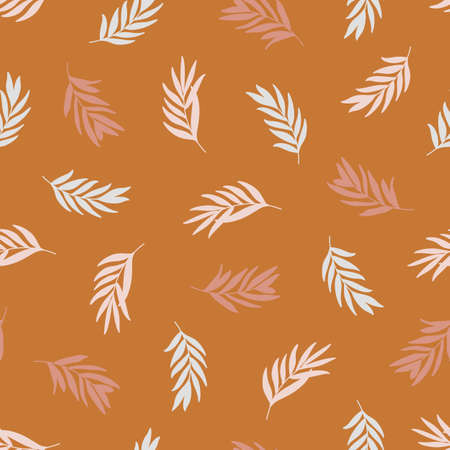 Palm leaves Seamless Pattern in a Trendy Minimal Style. Tropical palm silhouette Background. Jungle Vector Ornament for printing on fabric, invitation, wrapping, wallpaper and other 向量圖像