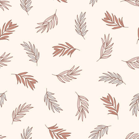 Palm leaves Seamless Pattern in a Trendy Minimal Style. Outline of a Tropical palm Background. Jungle Vector Ornament for printing on fabric, invitation, wrapping, wallpaper and other
