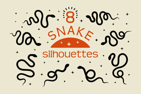 A set of Black snake silhouettes in a simple minimalistic style. Vector isolated illustration on a white background.