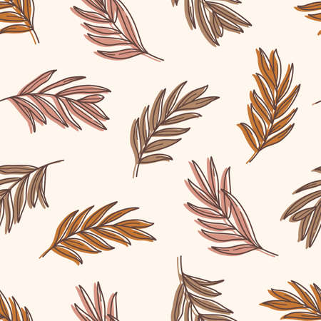 Palm leaves Seamless Pattern in a Trendy Minimal Style. Outline of a Tropical palm Background.