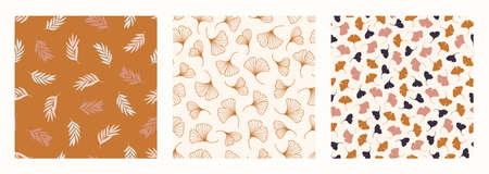 Palm Ginkgo Biloba Leaves Seamless Pattern in a Trendy Minimal Style. Outline of a Tropical palm Background. 向量圖像