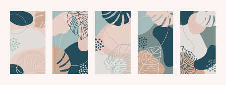 Set Backgrounds With Monstera Leaves and Shapes. 向量圖像