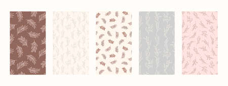Set Backgrounds with Palm leaves and floral Elements. 向量圖像