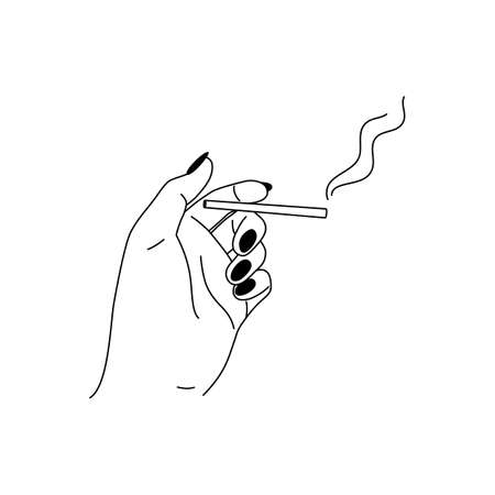 Woman hand is holding cigarette in a minimalistic linear style. Vector illustration for printing t-shirt, poster