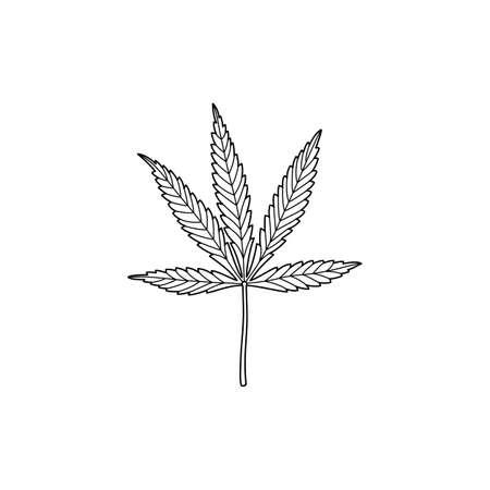 A marijuana leaf in a trending minimal linear style. Outline Of A Medical Cannabis Leaf. Vector illustration 向量圖像