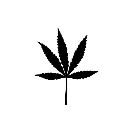 Black Silhouette of a Marijuana Leaf in a Simple Style. Vector illustration of a Medical Cannabis Leaf
