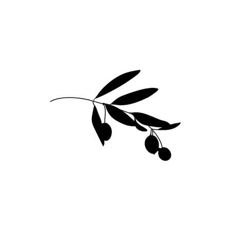 Silhouette Olive Branch with leaves. Outline Botanical leaves In a Modern Minimalist Style. Vector Illustration. Illustration