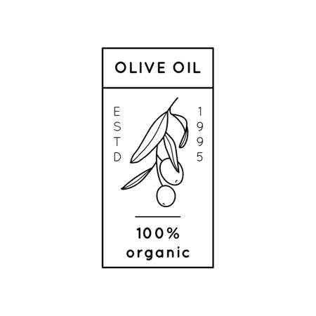 Olive Oil Outline Botanical Branch with leaves and with Fruit In a Modern Minimal Style. Vector Icon, Sticker, Stamp, Tag For oil, soap, cosmetics