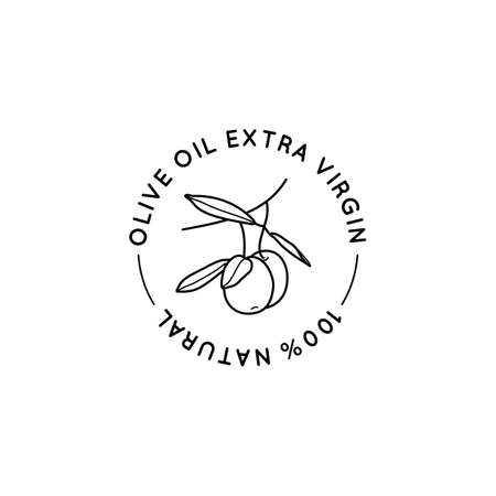 Olive Oil Outline Botanical Branch with leaves and with Fruit In a Modern Minimal Style. Vector Round Icon, Sticker, Stamp, Tag For oil, soap, cosmetics