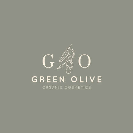 Olive branch with leaves and fruit design template in simple minimal linear style. Abstract Feminine Vector Badge Vector Illustration