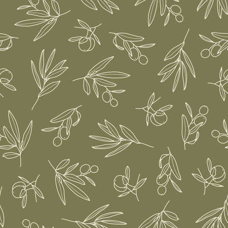 Olive Branch with Leaves and Fruit Seamless Pattern in a Trendy Minimal Style. Floral Green Vector Ilustración de vector