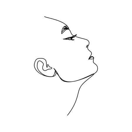 One Line Woman's Face. Continuous line Portrait in Profile of a girl In a Modern Minimalist Style. Vector Illustration for printing on t-shirt, Web Design, beauty Salons, Posters and other things Illustration