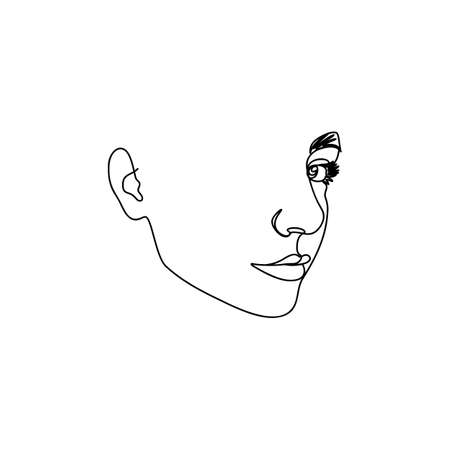 One Line Woman's Face. Continuous line Portrait in Profile of a girl In a Modern Minimalist Style. Vector Illustration. For printing on t-shirt, Web Design, beauty Salons, Posters and other things