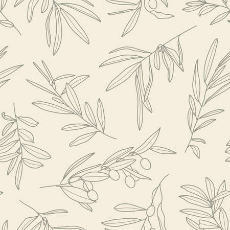 Seamless Pattern with Olive Branch in a Trendy Minimal Style. Outline of a Botanical Background. Floral Vector Ornament for printing on fabric, invitation, wrapping, wallpaper Ilustración de vector