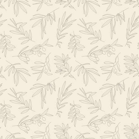Olive Branch with Leaves and Fruit Seamless Pattern in a Trendy Minimal Style. Outline of a Botanical Background. Floral Green Vector Ornament for printing on fabric, invitation, wrapping, wallpaper