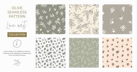 Seamless patterns with Olive Branch in Modern Minimal Liner Style. Vector Floral Backgrounds for Wedding invitations, greeting cards, print on fabric, wallpapers, scrapbooking, gift wrap and more