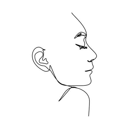 One Line Woman's Face. Continuous line Portrait in Profile of a girl In a Modern Minimalist Style. Vector Illustration For wall art, printing on t-shirts, and avatars, etc.