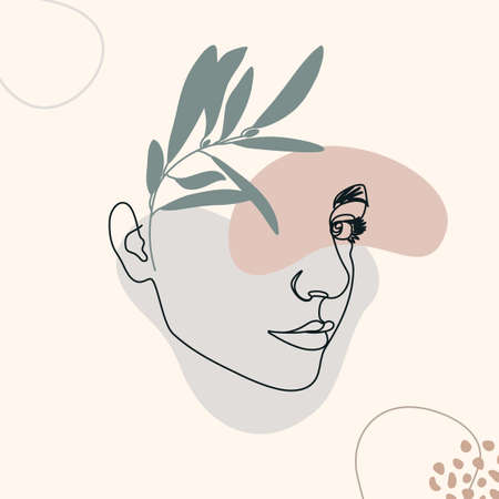 One Line Woman's Face. Continuous line Female Portrait in Profile With Geometric Shapes and Floral Elements In a Modern Minimalist Style. Vector Illustration For wall art, printing on t-shirts, covers