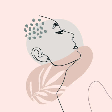 One Line Woman's Face. Continuous line Female Portrait in Profile With Geometric Shapes and Floral Elements In a Modern Minimalist Style. Vector Illustration For poster, card, print on t-shirts
