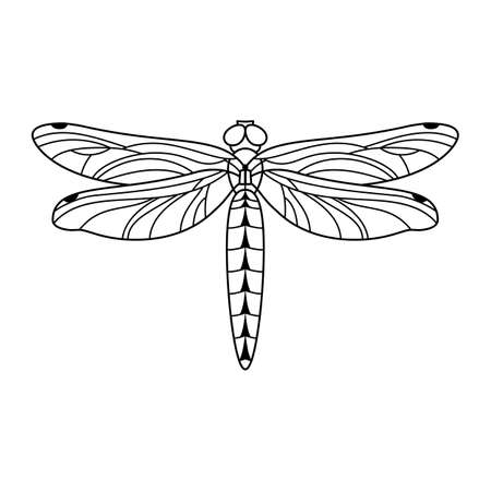Dragonfly icon in a Linear Minimalist trendy style. Vector outline Emblem of Insect with wings for beauty salons, manicures, massages, spas, jewelry, tattoos, and handmade artists.