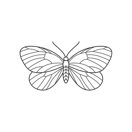 Butterfly icon in a Linear Minimalist trendy style. Vector outline Emblem of Insect Moths for beauty salons, manicures, massages, spas, jewelry, tattoos, and handmade artists.