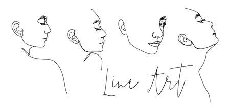 Set of One Line Woman's Face. Continuous line Female Portrait in Profile of a girl In a Modern Minimalist Style. Vector Illustration For wall art, printing on t-shirts