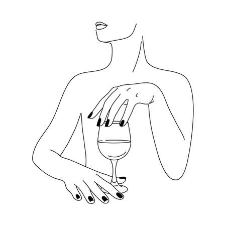 Woman and Wine Glass in a Minimalist Style. Vector Fashion Illustration of women's hands in a trendy linear style. Fine art for posters, tattoos, store and Bar