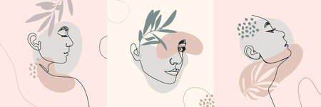 One Line Woman's Faces. Continuous line Female Portrait in Profile With Geometric Shapes and Floral Elements In a Modern Minimalist Style. Vector Illustration For Posters, t-shirts prints, avatars Illustration