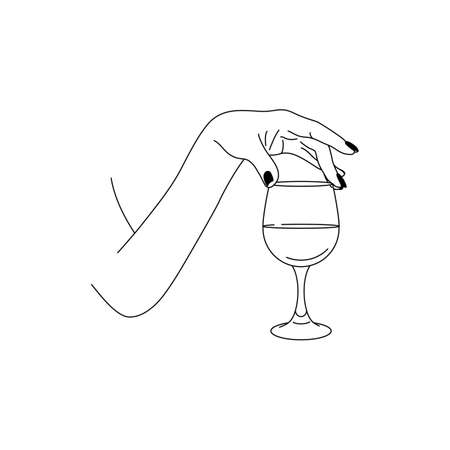 Woman's Hand Holds a glass of Wine in a minimalistic style. Vector Fashion Illustration of the female body in a trending linear style. Fine art for posters, tattoos, store
