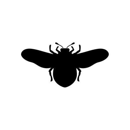 Bumblebee Silhouette in a Simple trendy style. Vector outline Emblem of Insect with wings
