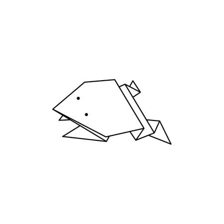 Origami Frog Icon in a Trendy minimalistic Linear Style. Folded Paper Animal Figures. Vector Illustration
