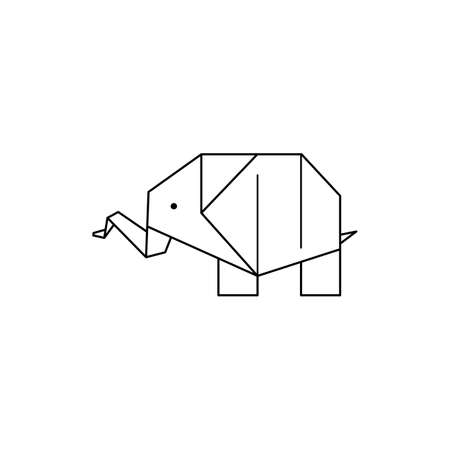 Origami Elephant Icon in a Trendy minimalistic Linear Style. Folded Paper Animal Figures. Vector Illustration
