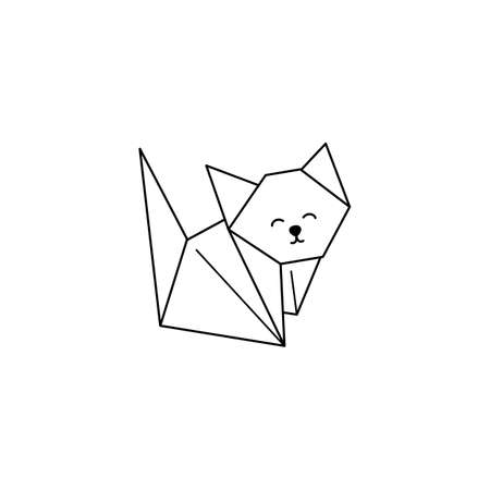 Origami Cat Icon in a Trendy minimalistic Linear Style. Folded Paper Animal Figures. Vector Illustration