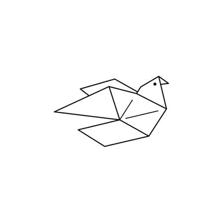 Origami Pigeon Icon in a Trendy minimalistic Linear Style. Folded Paper Bird Figures. Vector Illustration