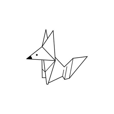 Origami Fox Icon in a Trendy minimalistic Linear Style. Folded Paper Animal Figures. Vector Illustration Illustration