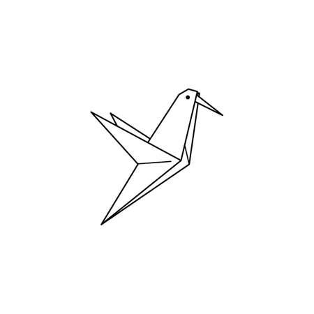 Origami hummingbird Icon in a Trendy minimalistic Linear Style. Folded Paper Bird Figures. Vector Illustration Illustration