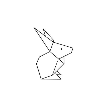 Origami Rabbit Icon in a Trendy minimalistic Linear Style. Folded Paper Animal Figures. Vector Illustration